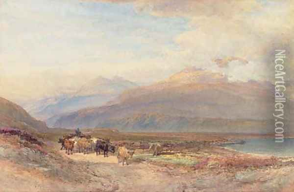 Droving cattle in the Scottish highlands Oil Painting - William Leighton Leitch
