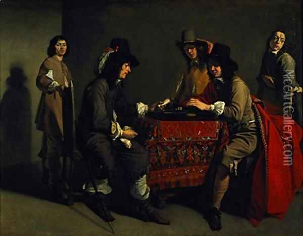 The Backgammon Players Oil Painting - Mathieu Le Nain