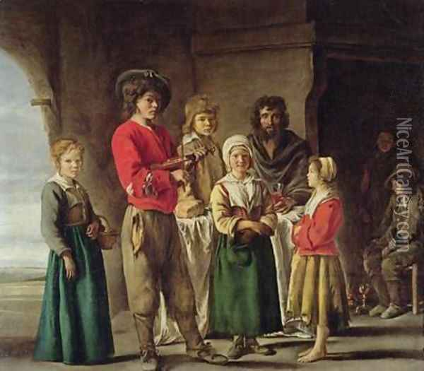 Peasants in a Cave Oil Painting - Mathieu Le Nain