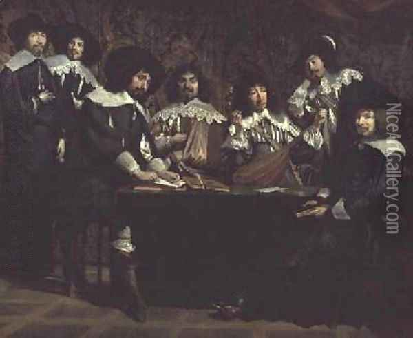 The Academy or The Amateurs Meeting Oil Painting - Mathieu Le Nain