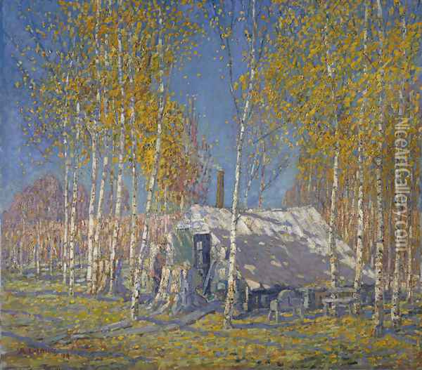The Guide's Home, Algonquin Oil Painting - Arthur Lismer