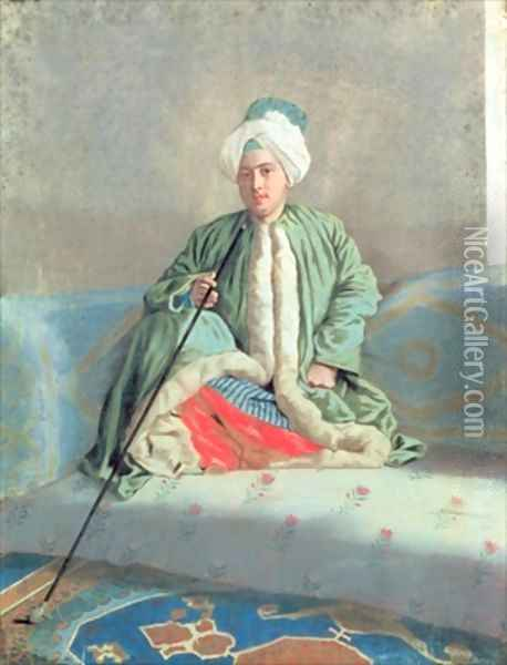 A Gentleman Seated on a Couch Oil Painting - Etienne Liotard