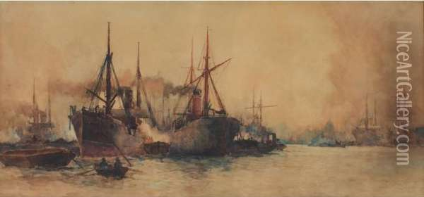 Steamboats Oil Painting - Charles Edward Dixon