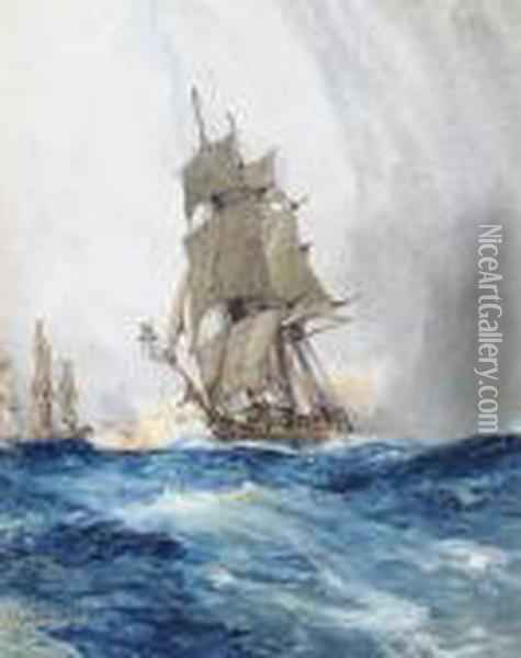 Frigates On The High Seas Oil Painting - Charles Edward Dixon