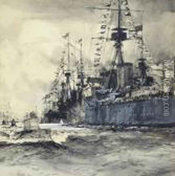 A Fleet Of Submarines Passing H.m.s. Dreadnought Oil Painting - Charles Edward Dixon