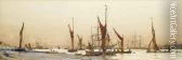 Bustling Activity Off Tilbury Oil Painting - Charles Edward Dixon