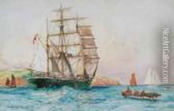 The Barque Britannia Of Belfast Passing St. Catherine's Point Oil Painting - Charles Edward Dixon