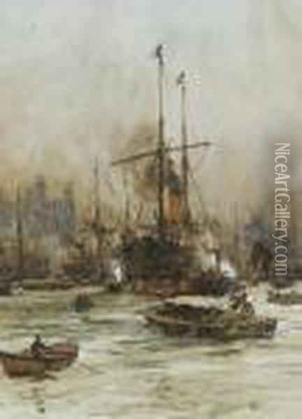 The Tower Of London From The River Oil Painting - Charles Edward Dixon