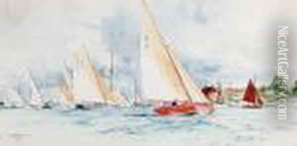 Yachts On A Breezy Day Oil Painting - Charles Edward Dixon