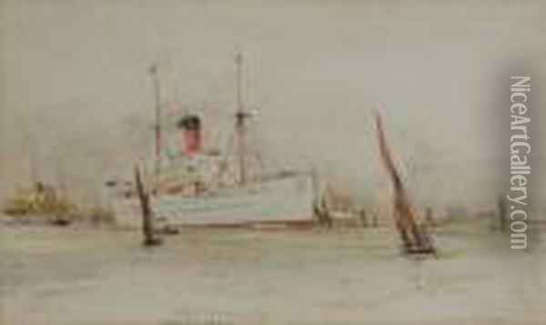 Garth Castle, Outward Bound And Other Vessels Oil Painting - Charles Edward Dixon