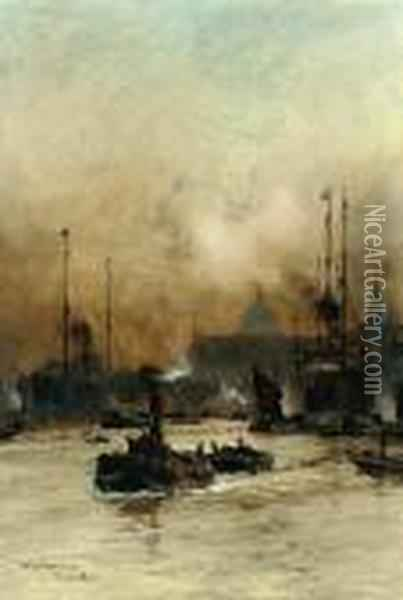 Bustling Activity On The Thames Before The Customs House Oil Painting - Charles Edward Dixon
