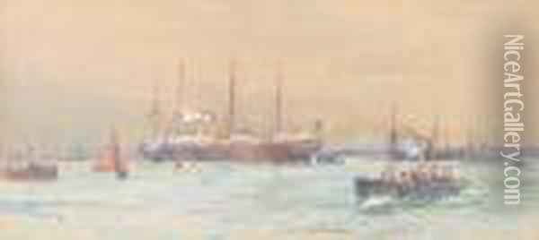 The White Star Liner Oil Painting - Charles Edward Dixon