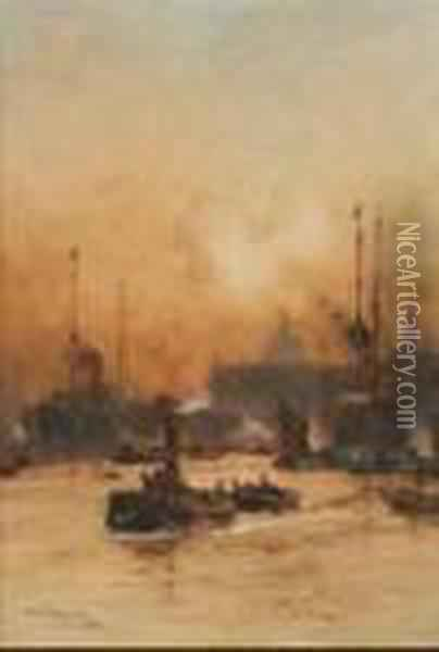 Off The Custom House Oil Painting - Charles Edward Dixon