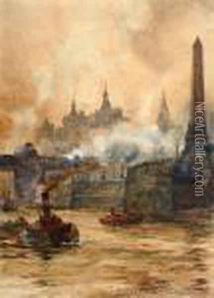 Shipping On The Thames, Beside Cleopatra's Needle Oil Painting - Charles Edward Dixon