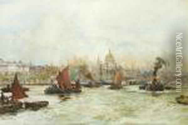 Barges, Tugs And Lighters Making  The Most Of The Full Tide Above Blackfriars Bridge With St. Pauls  Cathedral On The Skyline Beyond Oil Painting - Charles Edward Dixon