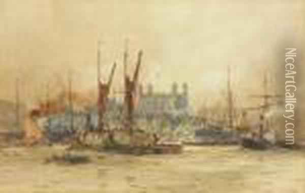 The Pool Of London And The Tower Oil Painting - Charles Edward Dixon