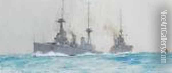 'bound North' - The Battlecruisers H.m.s.'indefatigable' And H.m.s. 'lion' Oil Painting - Charles Edward Dixon