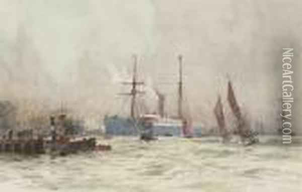 A Passenger Liner Arriving At Her Berth On The Lower Thames Oil Painting - Charles Edward Dixon