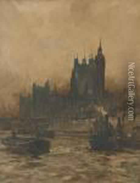 Tugs And Barges On The Thames Before The Palace Of Westminster Oil Painting - Charles Edward Dixon