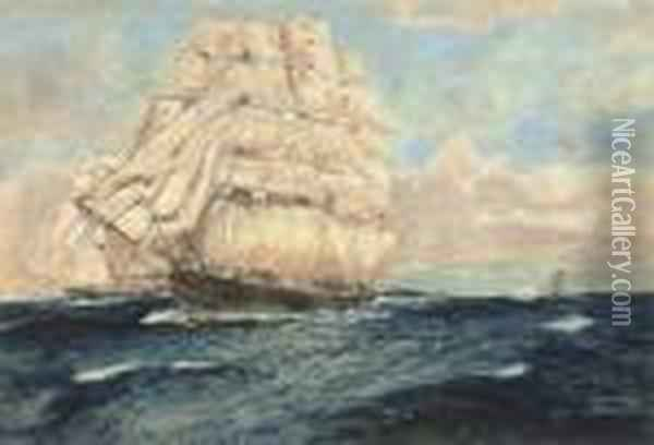 Cutty Sark And Thermopylae: Two Legendary Thoroughbreds At Sea Oil Painting - Charles Edward Dixon