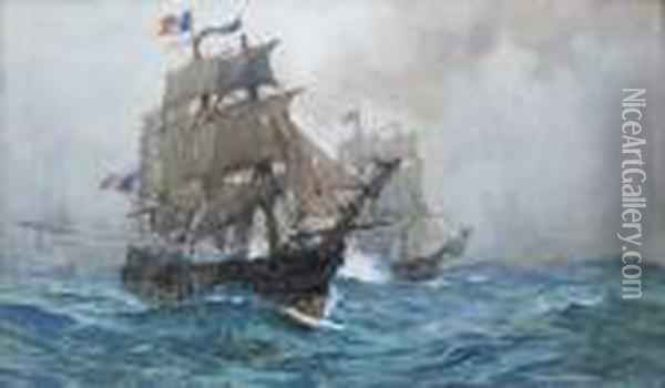 A Stern Chase Oil Painting - Charles Edward Dixon