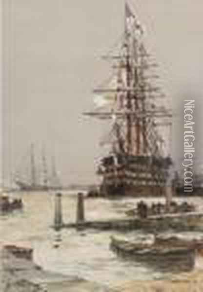 The Training Ship H.m.s.  St. Vincent   Lying Off Gosport Oil Painting - Charles Edward Dixon