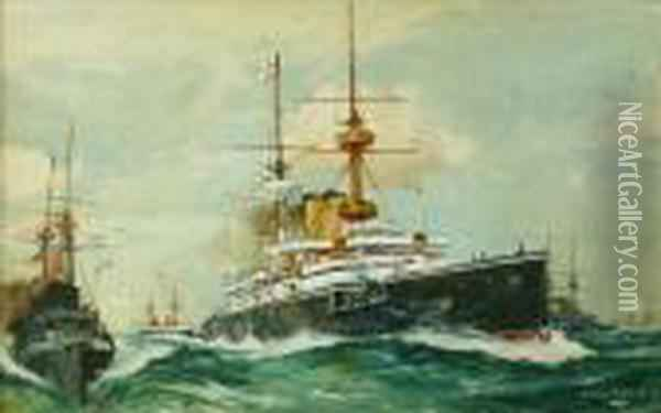 Cruiser Andescort Oil Painting - Charles Edward Dixon