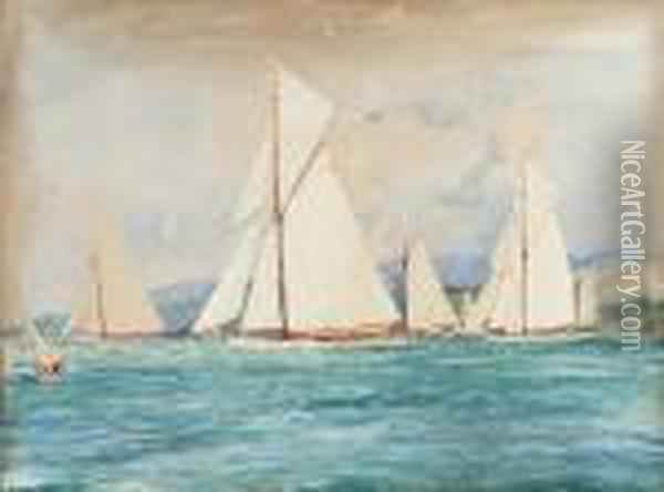 The First Race Of The Royal Clyde Yacht Club's Regatta Off Hunter's Quay Oil Painting - Charles Edward Dixon