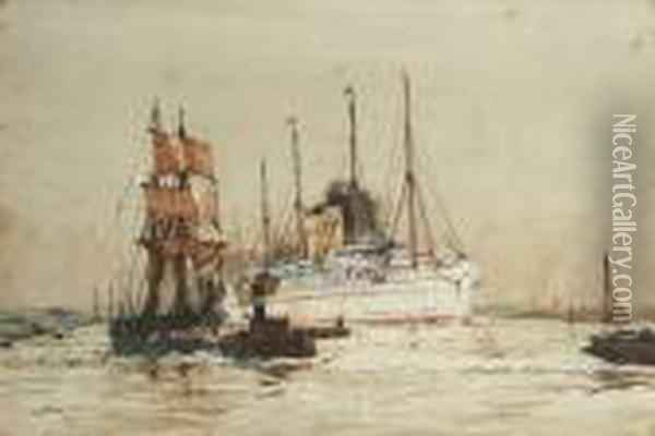 The P. & O. Liner 'caledonia' Outward Bound In The Thames Estuary Oil Painting - Charles Edward Dixon