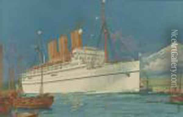 The S.s.empress Of Japan Oil Painting - Charles Edward Dixon
