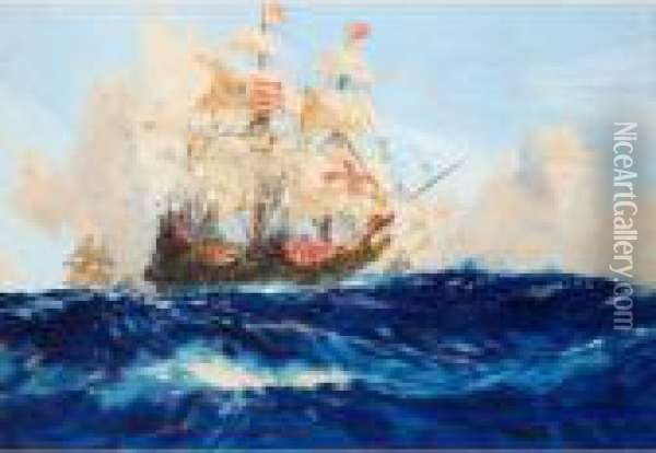 Galleons On The High Seas Oil Painting - Charles Edward Dixon