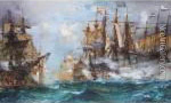 The Battle Of Camperdown Oil Painting - Charles Edward Dixon
