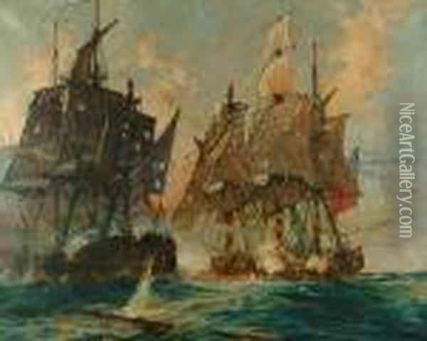 The Naval Action Between The 'bellpoule' And H.m.s. 'arethusa' Oil Painting - Charles Edward Dixon