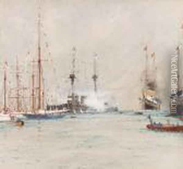 The King's Arrival At Cowes Oil Painting - Charles Edward Dixon