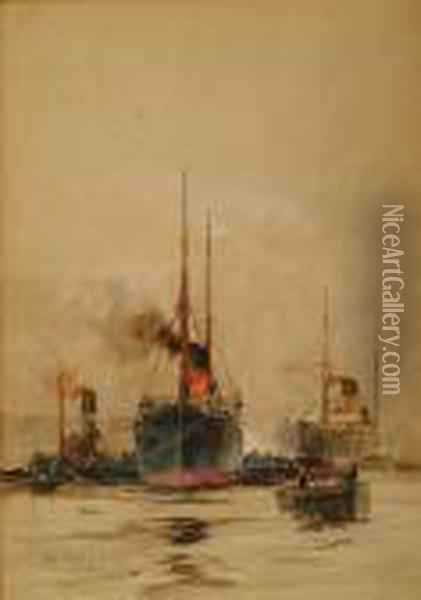 Ships, A Tug And Other Vessels In A River Oil Painting - Charles Edward Dixon