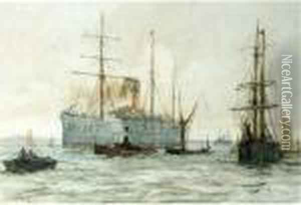 A Steamer Of The Castle Line On The Thames Oil Painting - Charles Edward Dixon