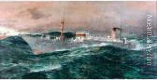 The C.s. Faraday In A Gale, 1929 Oil Painting - Charles Edward Dixon