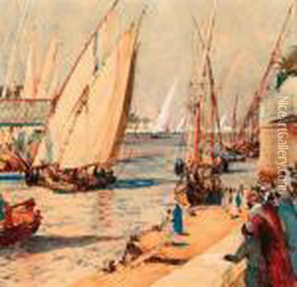 Feluccas On The Nile Oil Painting - Charles Edward Dixon