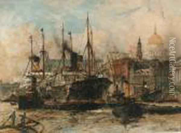 The Pool Of London: Shipping Off Fresh Wharf And Billingsgate Oil Painting - Charles Edward Dixon