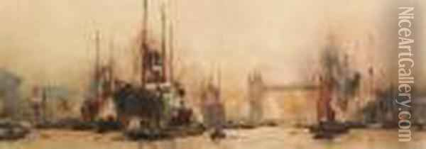 The Pool Of London, Tower Bridge With St. Paul's Beyond Oil Painting - Charles Edward Dixon