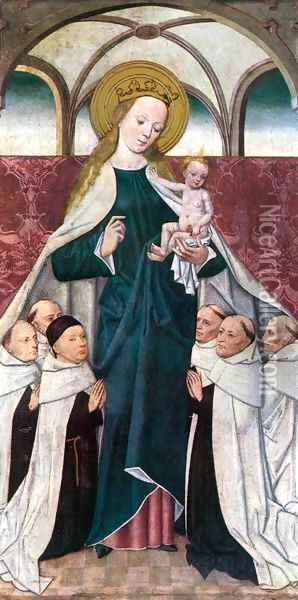 The Virgin of Mercy c. 1480 Oil Painting - Master of the Life of the Virgin