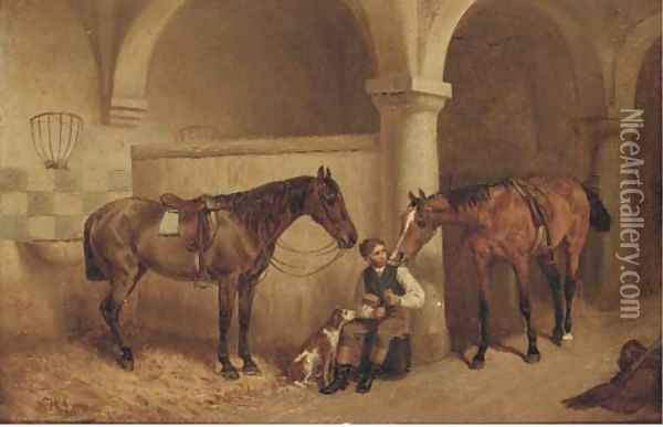A huntsman in a stable Oil Painting - H.F. Lang