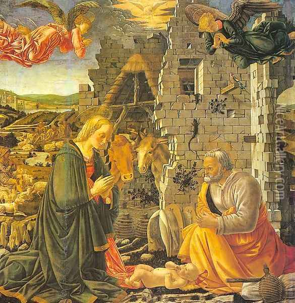 The Nativity Oil Painting - Master of the Louvre Nativity