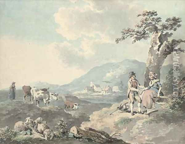 Figures in a landscape with cattle beyond; and Figures by the sea with a donkey Oil Painting - Peter La Cave