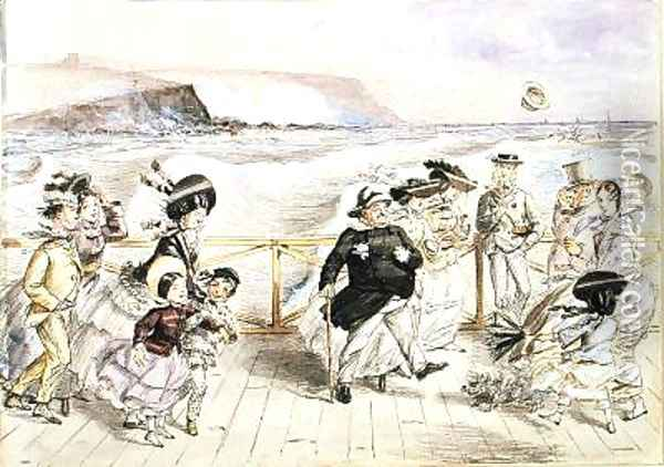A bracing day at the seaside Oil Painting - John Leech