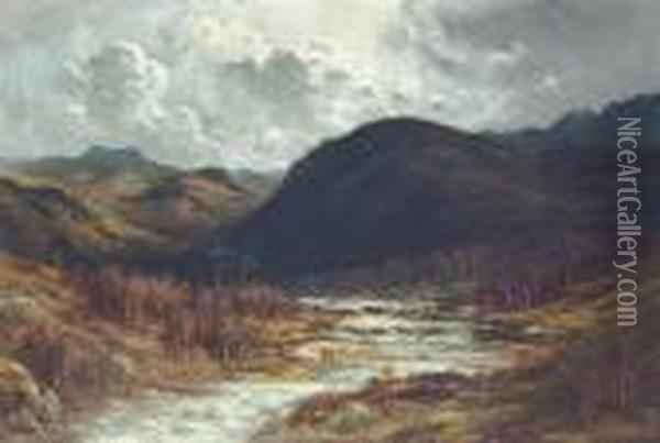 Mountain Landscape With A Storm Approaching Oil Painting - Gustave Dore