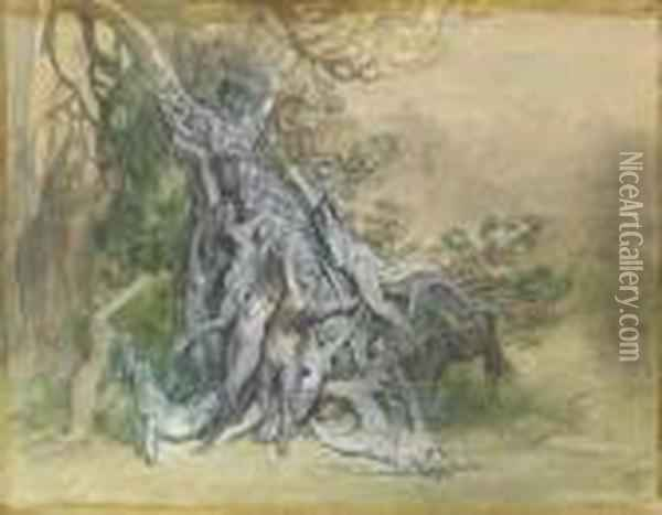 Black Chalk, Pen And Brown Ink, Watercolor, Bodycolor Oil Painting - Gustave Dore