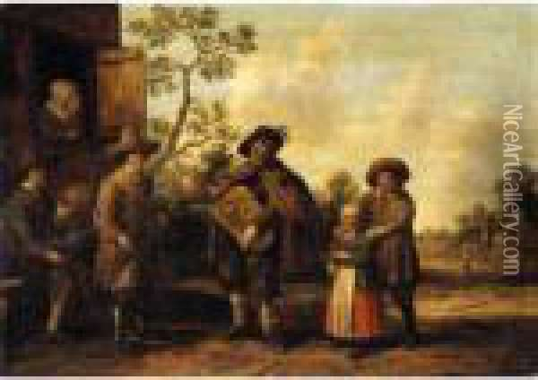 A Hurdy-gurdy Player And Other Musicians Before A Cottage Oil Painting - Joost Cornelisz. Droochsloot