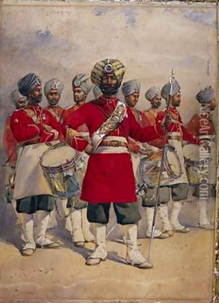 Soldiers of the 45th Rattrays Sikhs the Drums Jat Sikhs Oil Painting - Alfred Crowdy Lovett