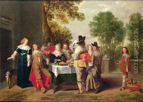 Elegant Company seated at a Table in a Formal Garden Oil Painting - Christoffel Jacobsz van der Lamen